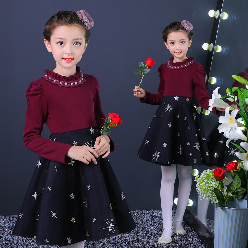 Autumn Winter Girl Gown Dress Plus Thicken Princess Costume Christmas Patchwork Long Sleeve Kids Clothes Robe Fille 12 Years girl dress princess floral autumn long sleeve gown party dresses kids clothes bow flower robe fille rapunzel kids dress 12 year