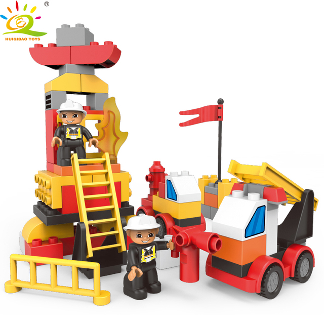 HUIQIBAO 63pcs Fire Robot Building Blocks Duploed Transform Truck car Big Size Brick Educational Toys For Children