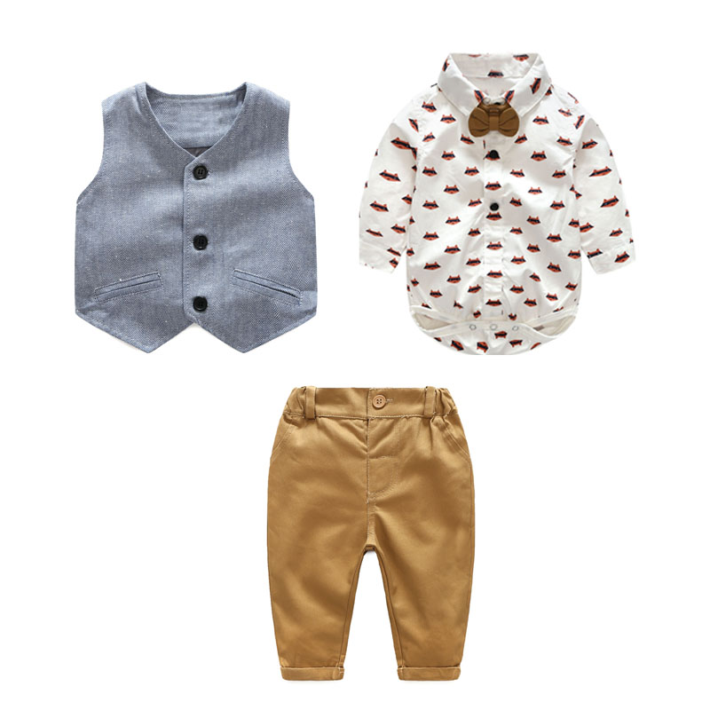 Image 2 - Newborn Boy Clothing Sets Cotton Gentleman 2019 Autumn Spring Fashion Plaid Rompers + Jeans + Vest Baby Clothes 0 24MClothing Sets   -