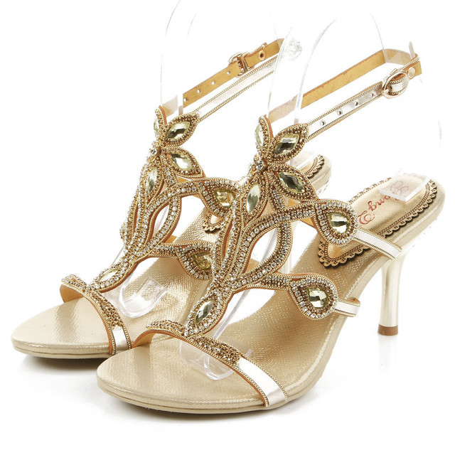 Online Shop 2016 summer New fashion wedding shoes gold color thin ...