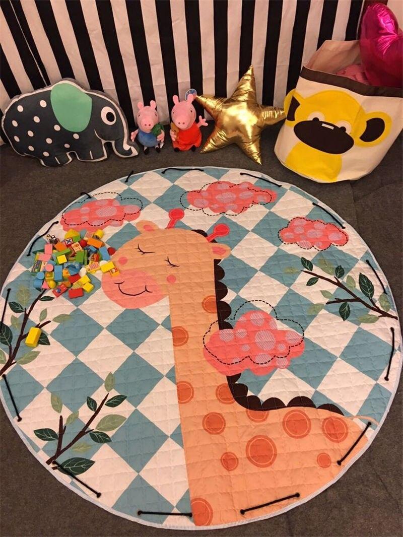 Tapis de sol Dia pour chambre d'enfants. 150 cm rond bébé tapis de jeu bébé filles garçons ramper tapis jouet organisateur de stockage pochette sacs - 3