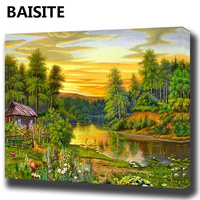 BAISITE DIY Framed Oil Painting By Numbers Flowers Pictures Canvas Painting For Living Room Wall Art