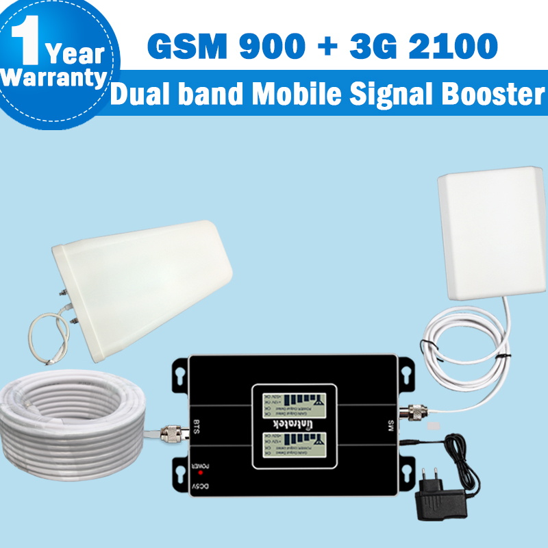 Lintratek 3G Amplifier 900 2100 repeater CellPhone GSM 900 2G WCDMA 2100 Cellphone Signal Booster 3g Network Repeater Antenna 53