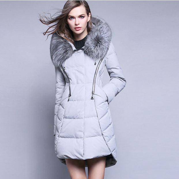 New Arrival Winter Fashion Woman Duck   Down     Coat   with Silver Ultra Large Fox Fur Collar Hood Gray Black Red Plus Size XL XXL 2XL