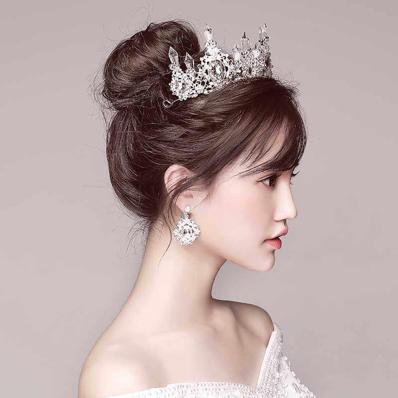הבארוק מלך נסיכת כלה חתונה כתר הכלה גדול קריסטל כסף זהב מצנפות וכתרים יום הולדת תחרות Quinceanera כתרים