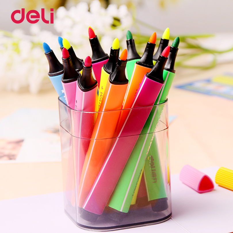 Deli 24 Colors/Set stamp water color Marker Pens Watercolor Based Artist Markers For Manga Anime Sketch Drawing Pen цена