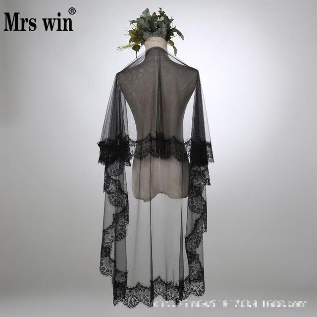 720ab88693 Velo negro especial para la fotografía de bodas porque tul suave Apliques  de encaje borde 3