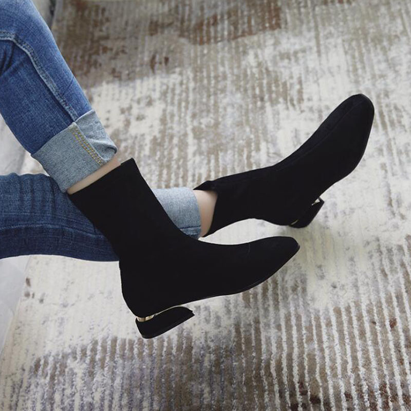 Tangnest Women Winter Sock Boots <font><b>2018</b></font> New <font><b>Sexy</b></font> Party Square Toe Elastic Plush Warm Black <font><b>Shoes</b></font> Short Ankle Booties XWX7168 image