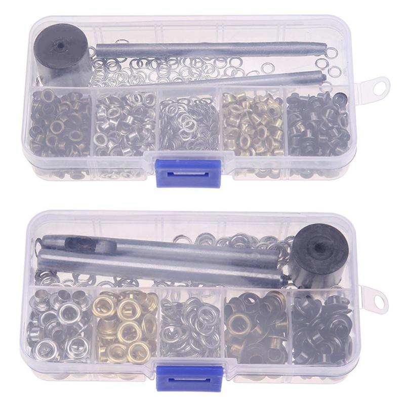 Conjunto de ojales de Metal para reparación de artesanías de cuero para álbum de recortes accesorios de ropa de cuero con herramientas para golpear a mano