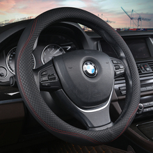 KKYSYELVA Leather Universal Car Steering-wheel Cover 38CM Car-styling Sport Auto Steering Wheel Covers Anti-Slip