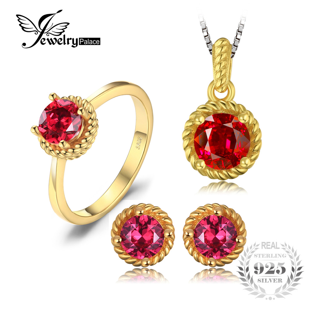 JewelryPalace New Created Ruby Solitaire Ring Stud Earrings Pendant Necklace Jewelry Sets 925 Sterling Silver Gold Plated цены