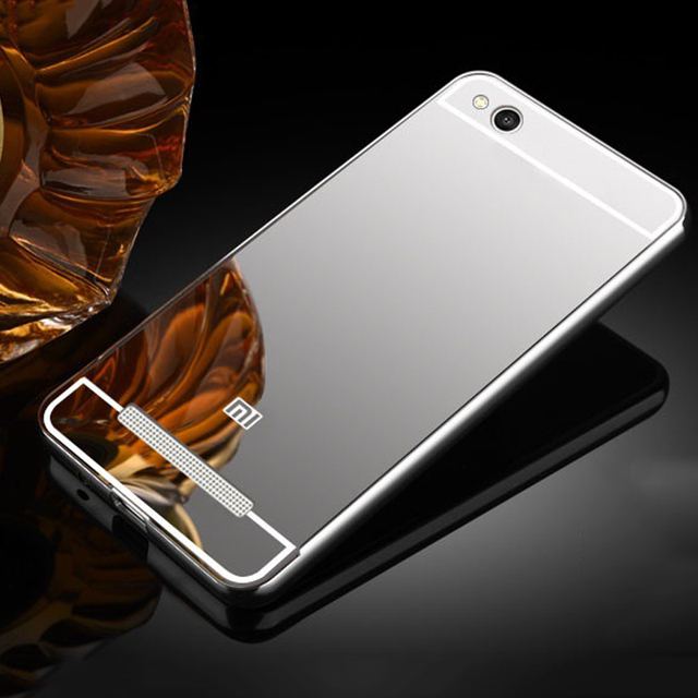 more photos 2a288 9d768 US $3.98 20% OFF|Cover For Xiaomi Redmi 5A Case Aluminum Metal Bumper +  Mirror PC Plastic Back Cover Coque For Xiaomi redmi 5A 5.0