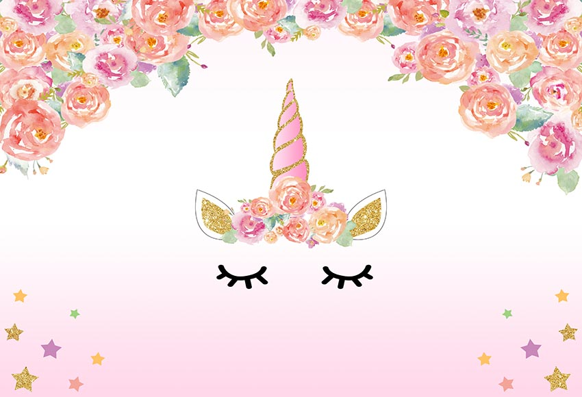 Cute Bordered Pastel Flower Wallpaper 7x5ft Light Pink Floral Flowers Unicorn Face Mask Eyes