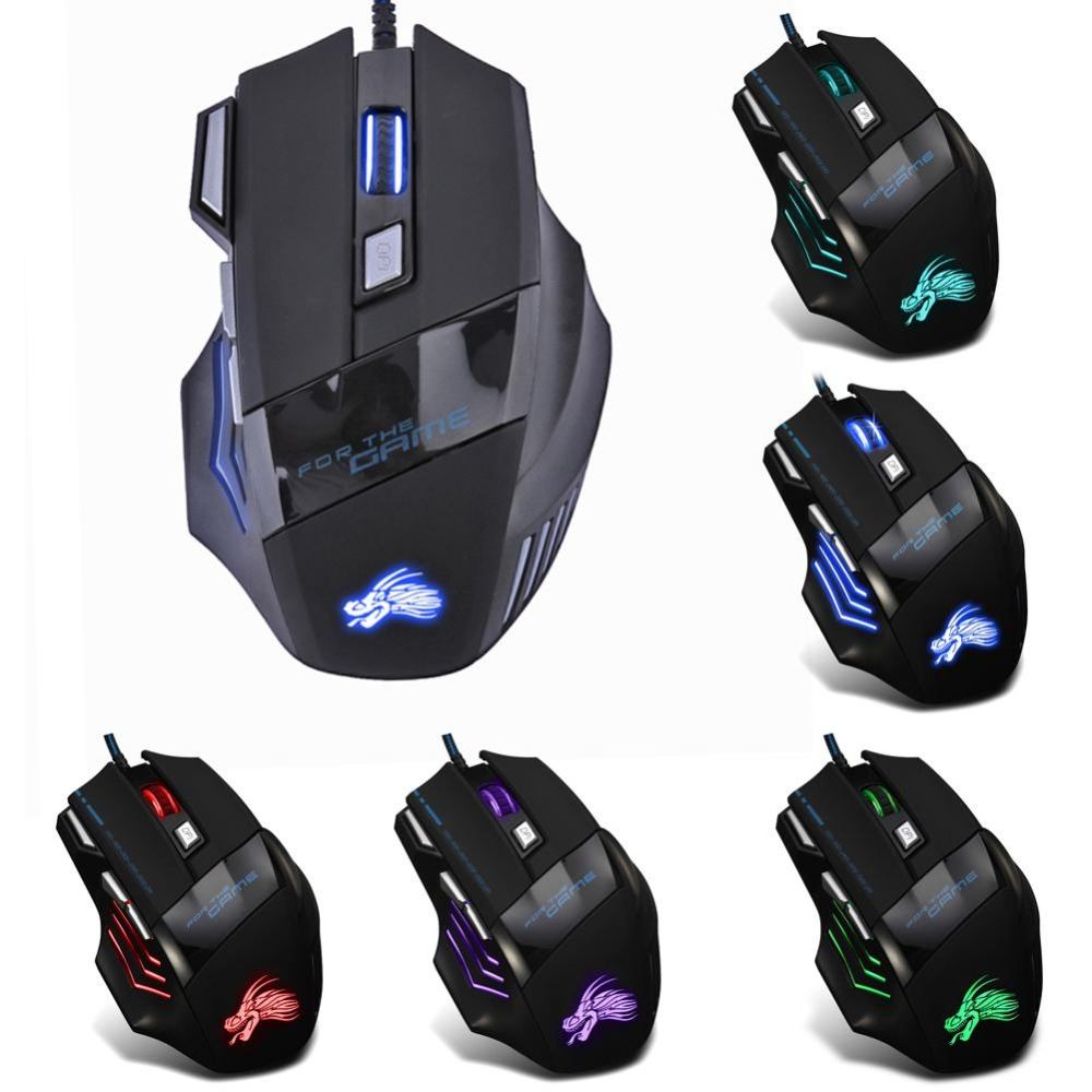5500DPI Wired Gaming Mouse Professional 7 Buttons Adjustable USB Cable LED Optical Gamer Mouse for Computer Laptop PC Mice Black(China)