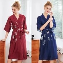 New Silk Kimono Robe Long Bathrobe Women Bridesmaid Robes Sexy Satin Ladies Dressing Gowns