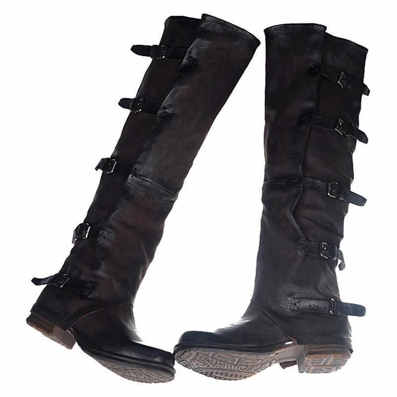 Prova Perfetto Sheepskin เก่า Retro ฤดูหนาวเข่าสูงของแท้หนังรองเท้า Euramerican สไตล์ Knight