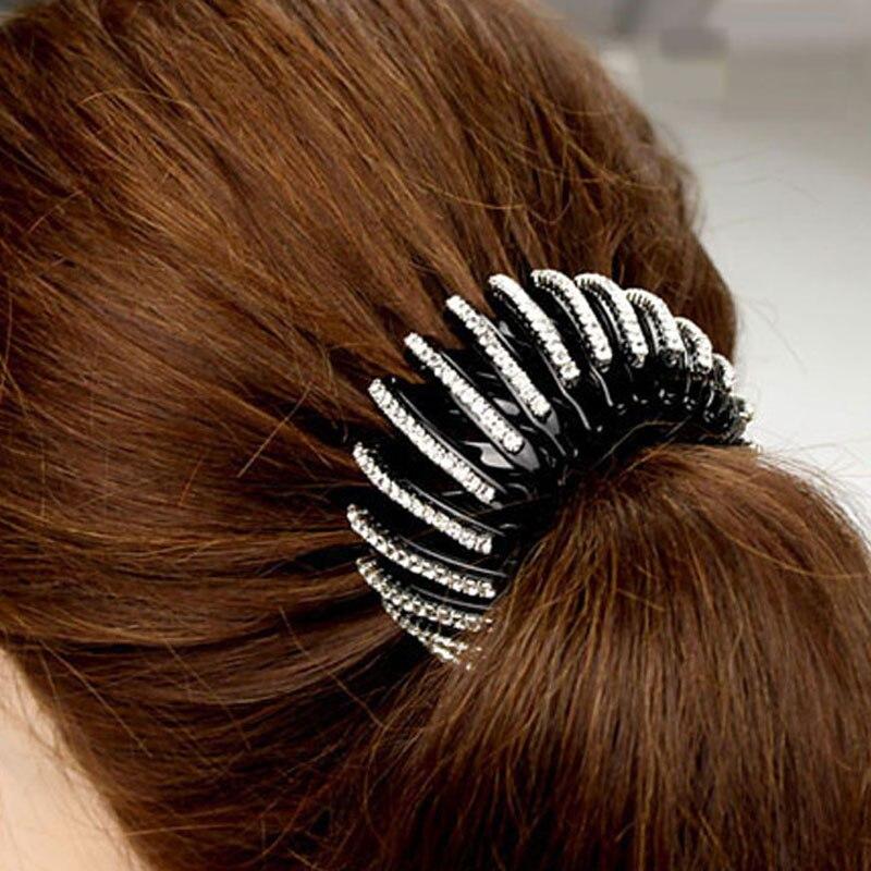 Elegant Rhinestone Large Black Acrylic Hair Claw Clip