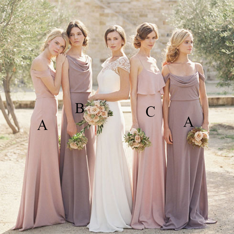 Simple Elegant Lavender Bridesmaid Dresses Long Blush