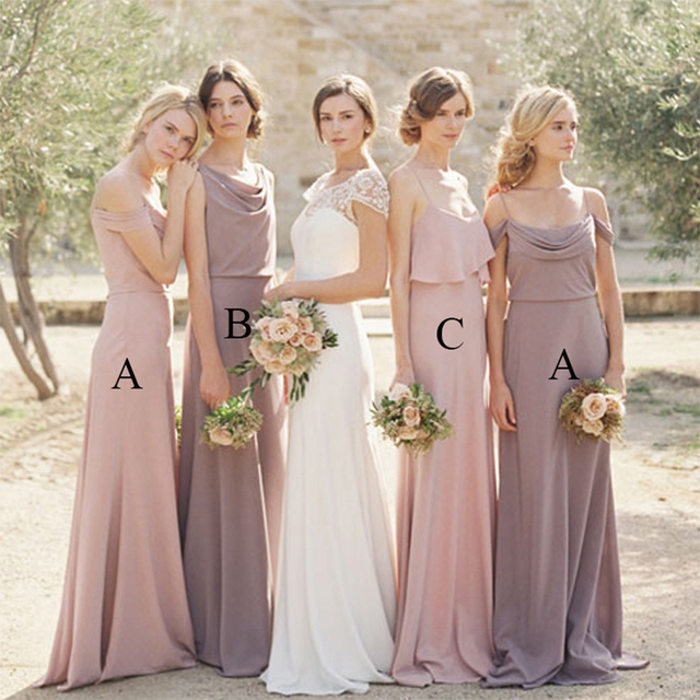 Simple Elegant Lavender Bridesmaid Dresses Long Blush Dress Spaghetti Straps Satin Wedding Gowns