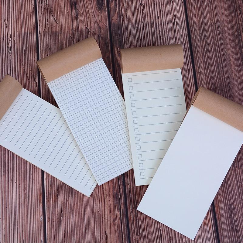 14 Cm*7 Cm Vintage Kraft Paper Notebook Blank Grid Todo