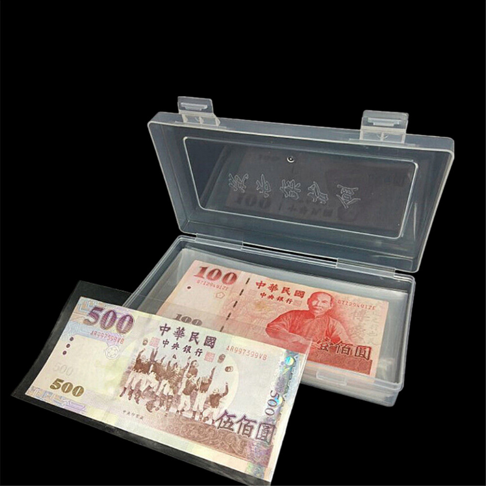 100pcs Money Page Of Paper Money Coin Album Coin Money Holders Transparent PVC Paper Money Banknotes With Box image