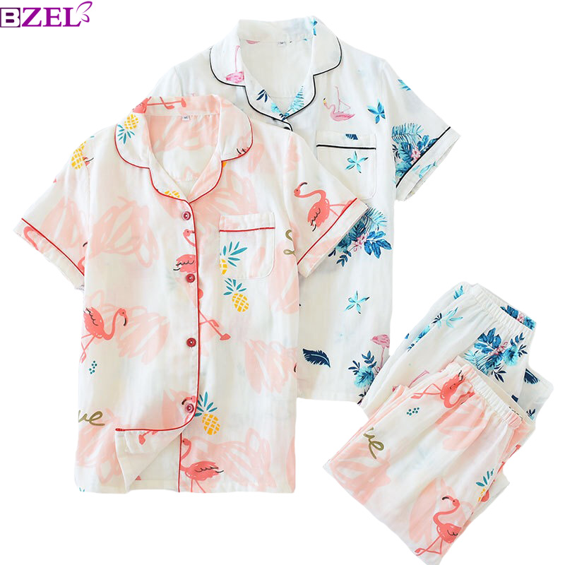 Ladies Spring   Pajamas     Set   Cartoon Flamingo Printed 100% Gauze Cotton Turn-down Neck Sleepwear 2Piece   Set   Comfort Household Wear