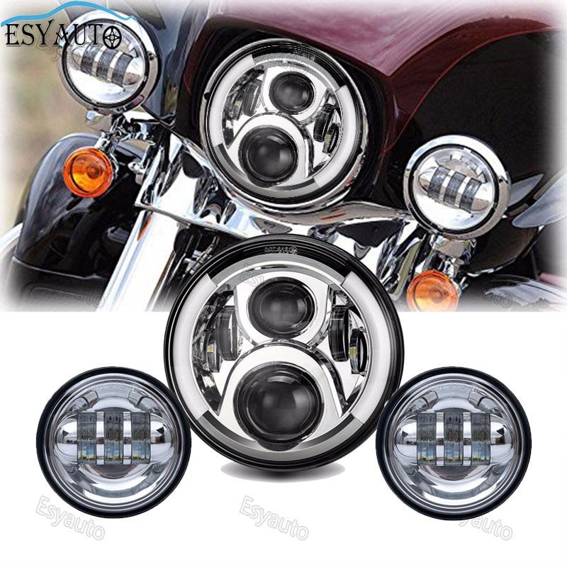 Motorcycle 7inch LED Protection Headlight Angel eye White DRL Amber Turning color 4.5Inch LED Fog Light for Harley Davidson