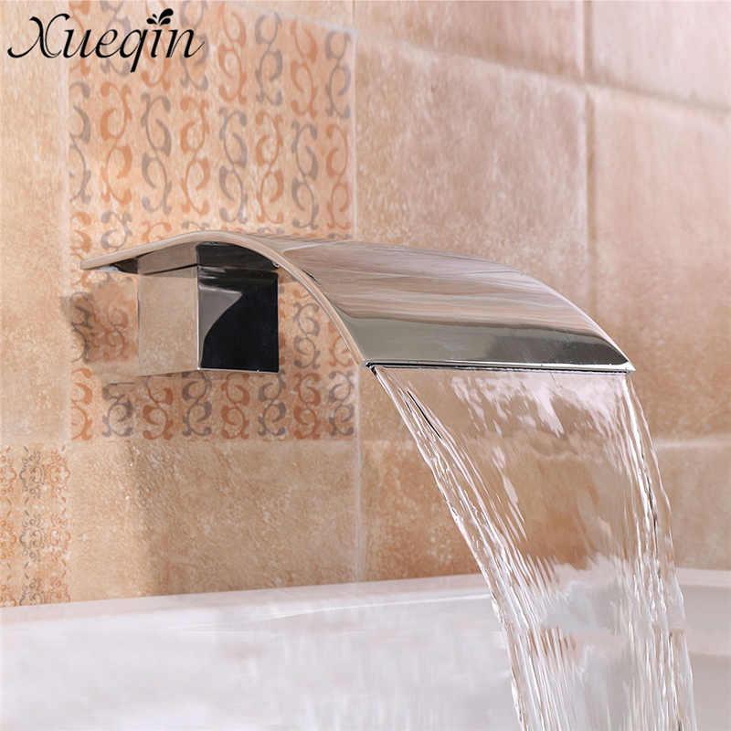 Твердая латунь водопад квадратный кран раковины настенного Ванная комната G1/2 ''серебро бассейна кран ванна Ванна Душ fauce''t
