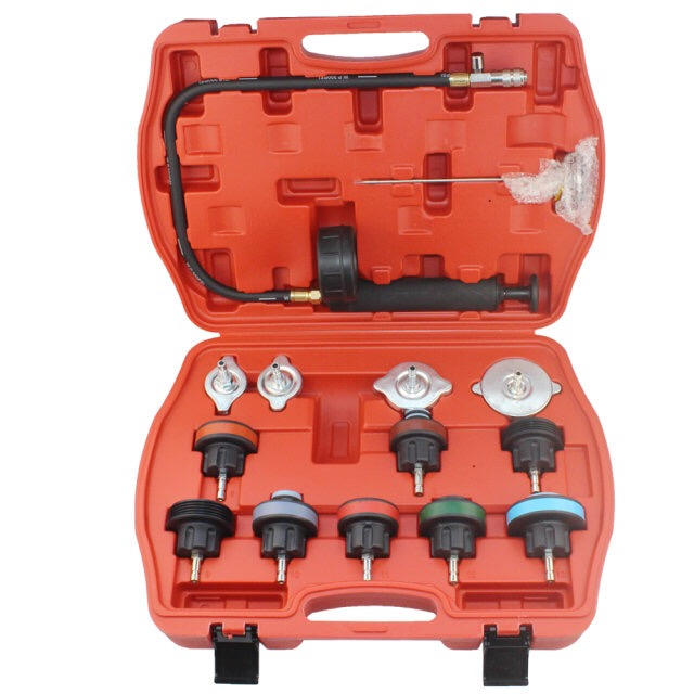 14PC Car Tool Universal Water Tank Detector Radiator COOLING SYSTEM Pressure Tester Kit new 14 pcs car water tank leakage detector radiator coolant system pressure test tool