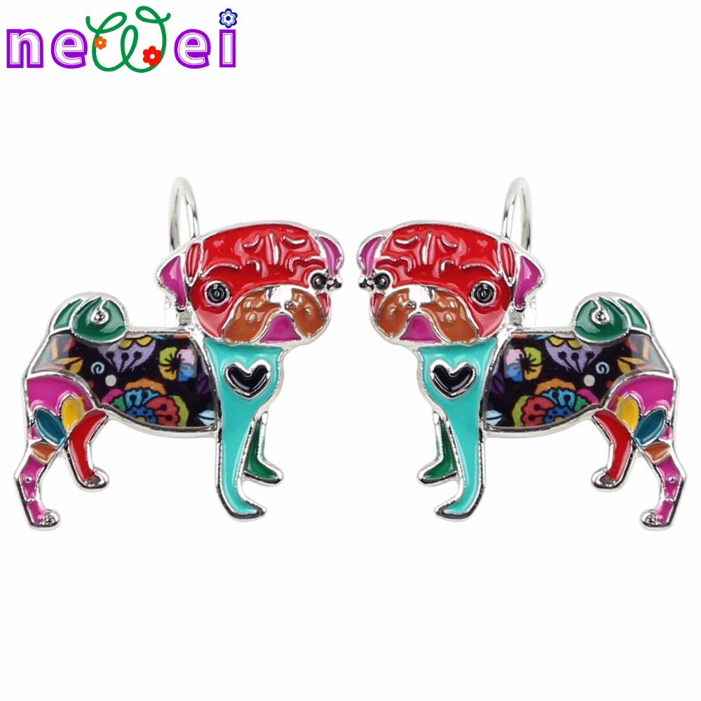 NEWEI Enamel Alloy Bulldog Pug Dog Earrings Stud French Clip Fashion Animal Pets Jewelry For Girls Women Accessories 2018 News