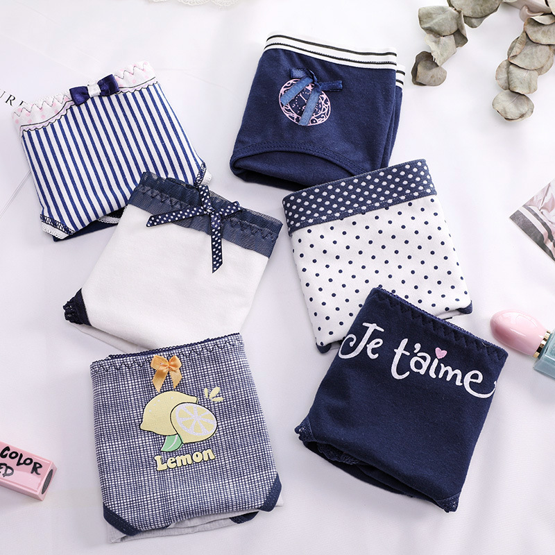 Free shipping 5pcs/lot Lady briefs Women's cotton   panties   navy blue cotton cartoon print female student girl underwear AM-A2011