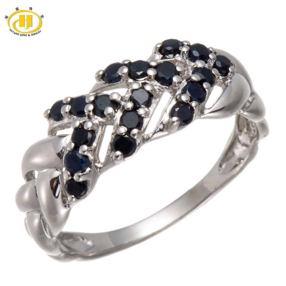 Hutang Natural Gemstone Sapphire Solid 925 Sterling Silver Celticknots Ring For Women Fine Jewelry Wholesale rosalie natural 0 5ct yellow sapphire gemstone ring elegant design 925 sterling silver fine jewelry for girls fine jewelry