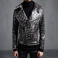 Men motorcycle biker leather jacket mens jaqueta de couro masculina skull embossing leather jacket men punk coats A428