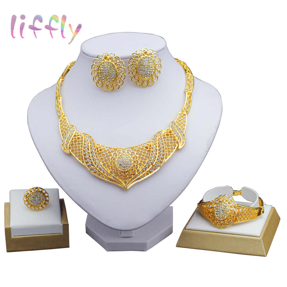 Liffly zestawy biżuterii ślubne druhny Dubai złoty dla nowożeńców zestawy biżuterii kryształowe kobiety naszyjnik moda afrykańskie koraliki biżuteria ustaw