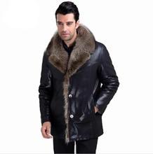 New designer man Raccoon fur collar Leather coat fashion warm winter Leather Jacket 5XL