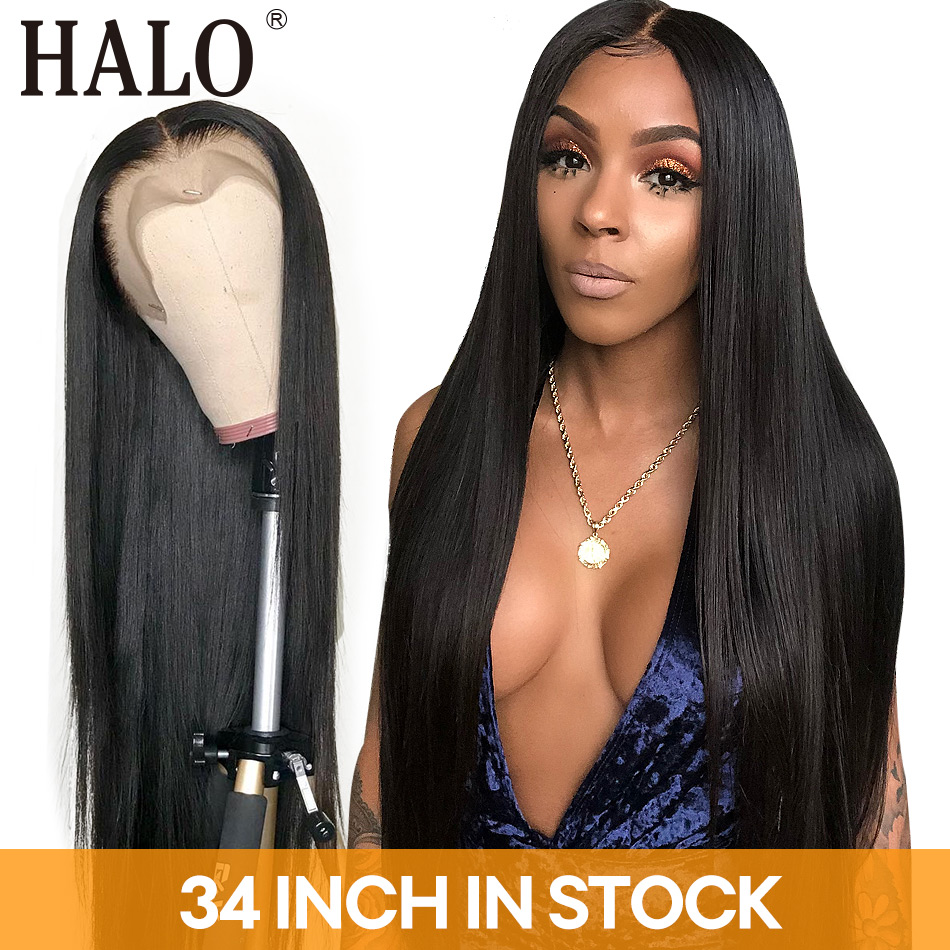 Human-Hair-Wigs Hair-Frontal 34inch Pre-Plucked 13x6 Straight Baby Black-Women Glueles