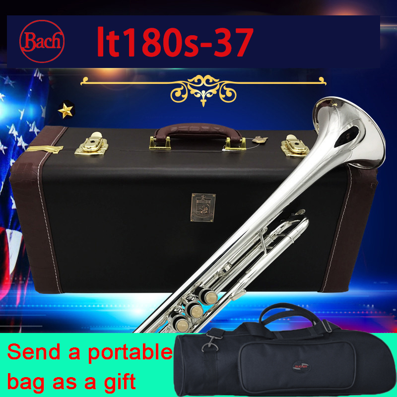 100 original Bach trumpet LT180S 37 Silver Plated high quality Bb Exquisite Hand 37 Trumpet professional