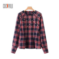 ZA Women Elegant Pearls Beading Plaid Shirts Checkered Long Sleeve O Neck Blouse Ladies Casual Pleated