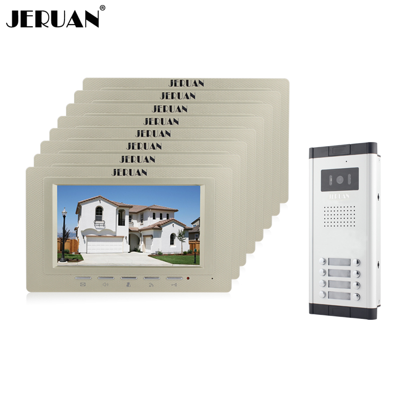 JERUAN Wholesale New Home Apartment Intercom System 8 Monitors Wired 7 Color HD Video Door Phone intercom System FREE SHIPPING brand new apartment intercom entry system 2 monitors wired 7 color video door phone intercom system for 2 house free shipping