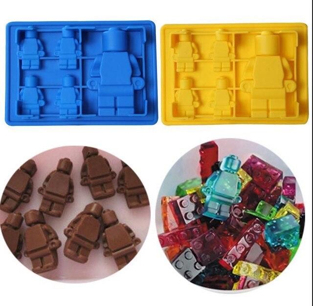 Весело Lego Человек Робот коктейли силиконовые формы для льда Шоколад помадка Плесень DIY бар вечерние десерт инструменты