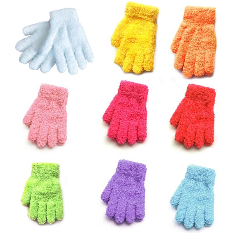 KüHn Kind Kleinkind Winter Verdickt Korallen Samt Voll Fingered Handschuhe Thermische Helle Süße Candy Farbe Fäustlinge Handgelenk Wärmer Teil