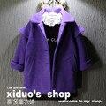 Новая мода отложным воротником фиолетовый девушки зимнее пальто 2017 теплый толстый девочка шерстяное пальто детей clothing baby пальто