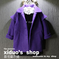 Nueva moda turn-down collar púrpura niñas abrigo de invierno 2017 niña abrigo de lana caliente de espesor niños clothing bebé abrigo