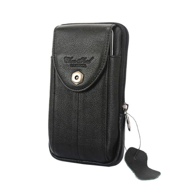 New fashion Genuine Leather Mobile Phone Case Pocket Purse Cigarette Hip Belt Fanny Waist Bag wallet