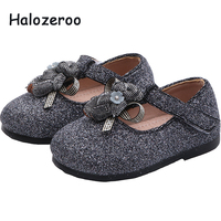 Spring New Baby Girls Bear Shoes Children Sequin Flats Toddler Fashion Shoes Brand Princess Shoes Black Glitter Mary Jane 2019