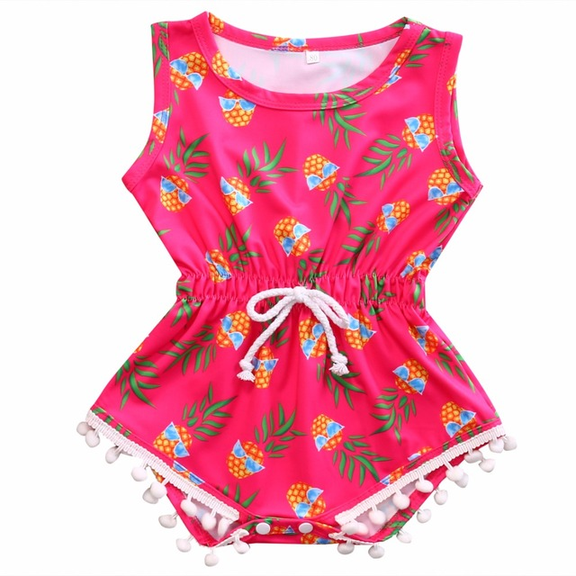 2cbe06db315 Infant Baby Girls Kids Clothes Sleeveless Pineapple Print Color Matching  Romper Rose Red Jumpsuit Hawaiian style Bebe Clothes