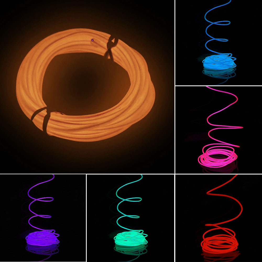5M Flexible EL Neon Light Glow Strip Rope Wire Tube+12V Inverter for Car Vehicle 6 Color