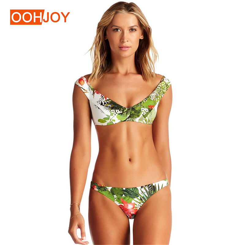2018 New Floral Green Leaves Print Bikini Women Swimsuit S-L Off Shoulder Swimwear Low Waist Bathing Suit Girl Summer Beachwear michael kors new green lime women s size large l v neck hi low knit top $49