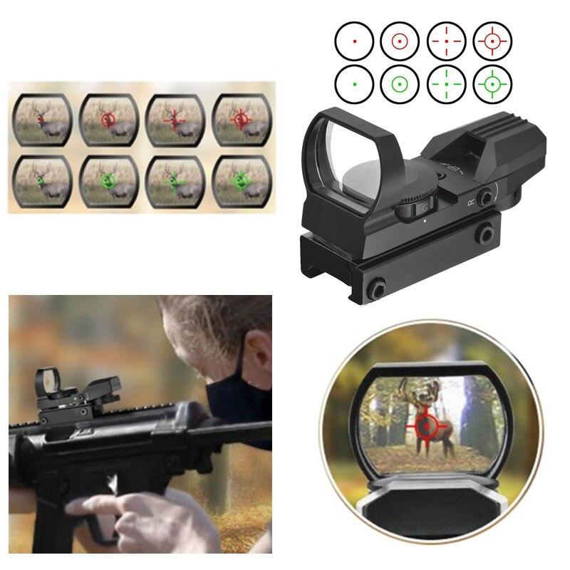 Escopos de caça óptica vermelho verde dot sight scope sniper pistola airsoft armas de ar reflex 4 riflescopes retículo vista holográfica