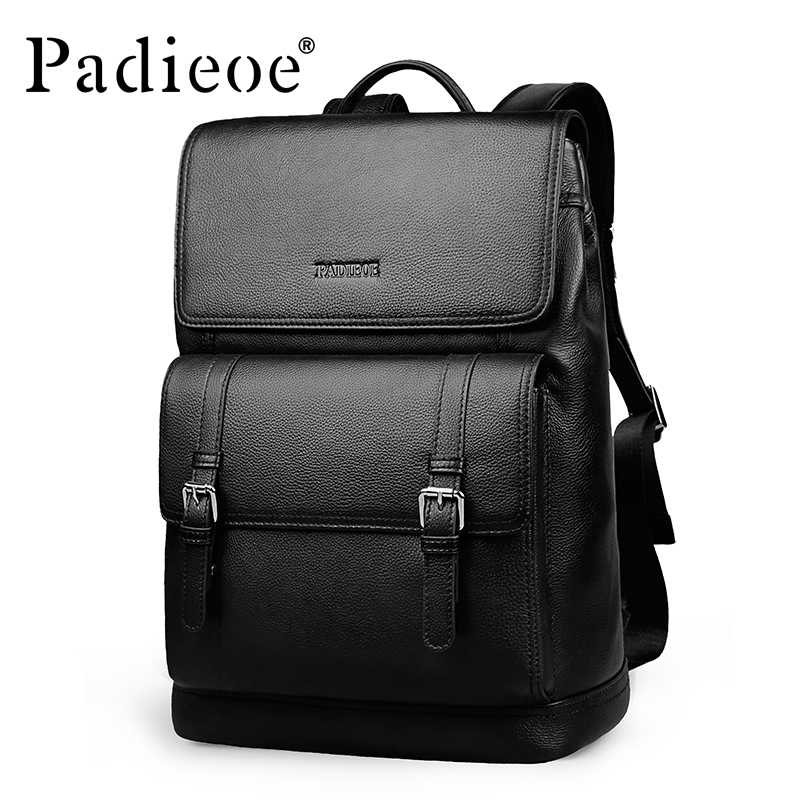 Padieoe Luxury Genuine Leather School Backpack For Teenager Fashion 15inches Large Capacity High Quality Leather Travel Backpack genuine leather backpack euro style men fashion school bags for teenager travel bag high quality large capacity leather backpack